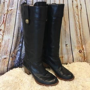 COACH Fayth Black Leather Tall Boots